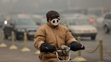 Riding a pushbike through the smog in Beijing last year.