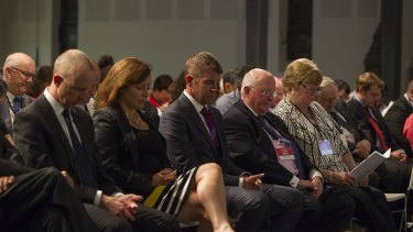 """Premier Mike Baird (centre) at a pre-election """"Make it Count"""" event for homeless and disadvantaged youth at the Village Church in Annandale."""