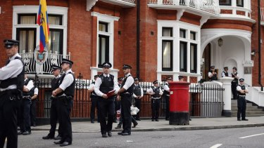 Police stand guard outside the Ecuadorian Embassy in 2012, where Julian Assange, founder of Wikileaks, sought refuge.
