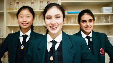 PLC year 8 students Jenny Kim, Julia Cummins and Madeline Panos are on their way to NASA space camp.