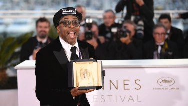 Lee holds the Grand Prix award for the film <I>BlacKkKlansman</I>.