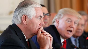 One the same page? US Secretary of State Rex Tillerson, left, in a meeting with President Donald Trump.