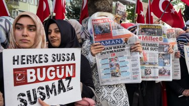 Supporters of the Koza-Ipek media group demonstrate for press freedom  in Istanbul, Turkey, in October.