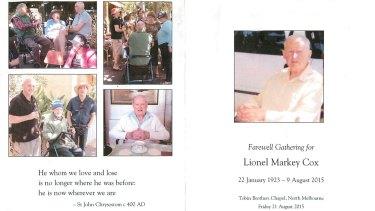 Lionel Cox's memorial booklet.