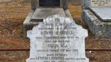 Condah cemetery, Gravestones of men who served in WW1.