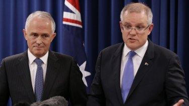 Treasurer Scott Morrison with Mr Turnbull in Brisbane on Wednesday.