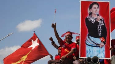 Supporters of Aung San Suu Kyi's National League for Democracy at a rally in Meiktila, in Myanmar's Mandalay Region.