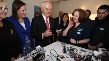 Mr Turnbull drove a robot with Robogals at Engineers Australia in Melbourne on Monday.