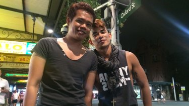 Rocky Tabanas (pictured with his friend Iggy Nor, left) says hookup apps such as Grindr are contributing to the decline of traditional gay spaces.