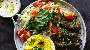 Persian pan kebabs with saffron rice.