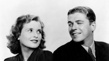 Mary Maguire with Ronald Reagan in a publicity shot for the 1938 film Sergeant Murphy.