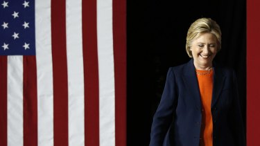 Democratic presidential candidate Hillary Clinton takes the stage before giving an address on national security.