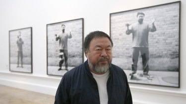 Chinese artist Ai Weiwei at the opening of his Royal Academy exhibition.