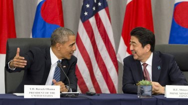 US President Barack Obama with Japanese Prime Minister Shinzo Abe at the Nuclear Security Summit in Washington in March. Obama will travel to Hiroshima this month.