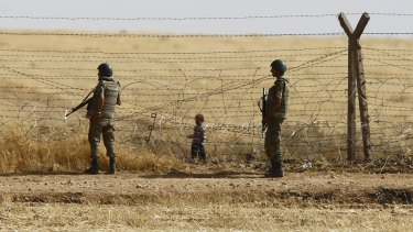 The security fence on the Turkish-Syrian border, near the south-eastern town of Akcakale in Turkey's Sanliurfa province.