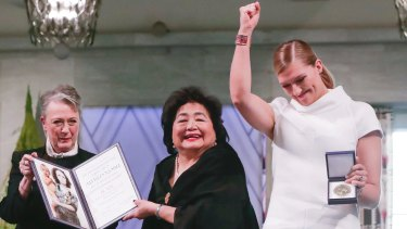 The leader of the Nobel committee Berit Reiss-Andersen, left, Hiroshima Survivor Setsuko Thurlow and ICAN Executive Director Beatrice Fihn in the City Hall Oslo, Norway, on Sunday.