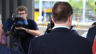 The witness known as BQA talks to media outside the Brisbane hearings of the Royal Commission in to Institutional Responses to Child Abuse.