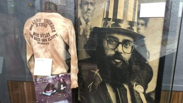 A photograph of Allen Ginsberg is among the items on display inside San Francisco's Beat Museum.