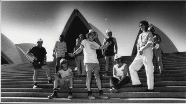 Singer Margret Roadknight, with ETU Members at the Opera House, September 14, 1987.