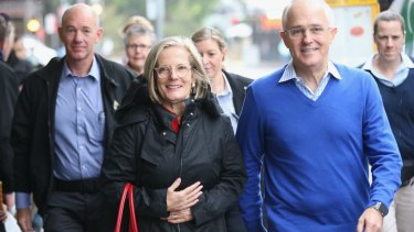 Prime Minister Malcolm Turnbull , with wife Lucy, at Bondi Junction on Saturday morning.