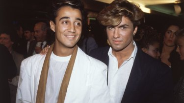 Wham! pop stars Andrew Ridgeley and George Michael of Wham at the film premiere of Dune in the 1980s.
