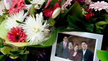 Floral tributes for NSW Police accountant Curtis Cheng outside Parramatta Police Headquarters.