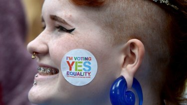 An Irish supporter of same-sex marriage after the successful referendum last year.