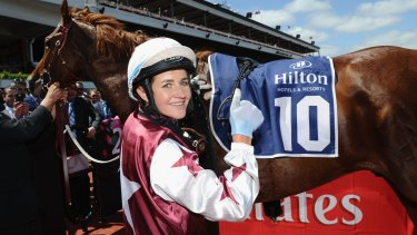 Michelle Payne after riding Palentino to win on Stakes Day at Flemington Racecourse.