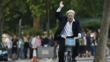 Boris Johnson, then mayor of London, launching the cycle hire scheme in 2010.