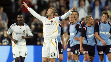David Beckham in Australia: His first appearance was during the Hyundai Club Challenge match between Sydney FC and LA Galaxy at Telstra Stadium Sydney in 2007.