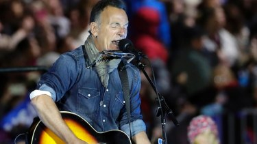 Bruce Springsteen performs during a Hillary Clinton campaign event in November 2016.