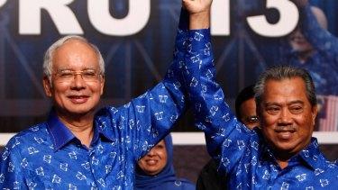 Malaysian Prime Minister Najib Razak, left, and his then deputy Muhyiddin Yassin in 2013.