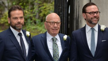 Rupert Murdoch with his sons Lachlan (left) and James.