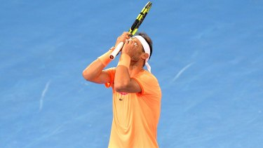 Frustration: Nadal reacts during his Brisbane loss to Milos Raonic.
