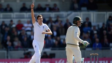 Brilliant bowling display ... Steven Finn celebrates dismissing Australian captain Michael Clarke during day two of the Ashes Test at Edgbaston.