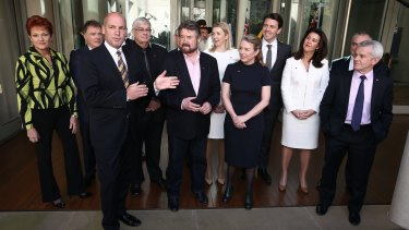 A group photo for new Senators in a Parliament House courtyard.
