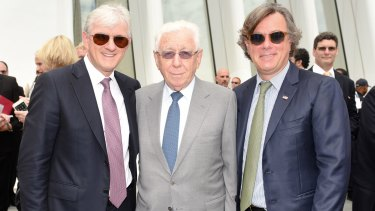 Steven, Frank and Peter Lowy at the opening of the new Westfield World Trade Centre in New York.