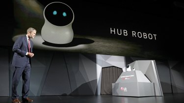 LG's benchtop Hub Robot, designed to live at the heart of the smart home.