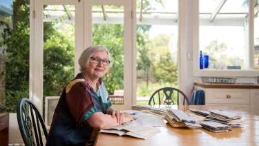 Paula Keogh at her Thornbury kitchen table where most of her memoir was written.