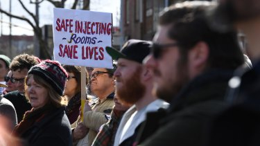 A rally for safe injecting rooms in Richmond last month.