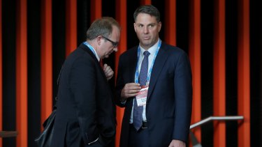 Labor immigration spokesman Richard Marles (right) with right-wing factional operative David Feeney.