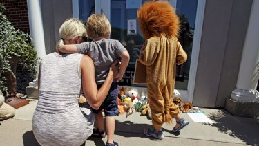 Flowers and stuffed animals have been left outside Walter Palmer's River Bluff Dental practice in Minnesota.