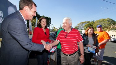 With ALP candidate for Stafford Dr Anthony Lynham and her father, former politician Henry Palaszczuk.