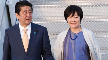 Prime Minister Shinzo Abe and his wife Akie Abe in February.