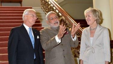 Victorian Governor Alex Chernov and Elizabeth Chernov with Indian Prime Minister Narendra Modi at Government House on November 18 last year.