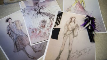Gabriela Tylesova's sketches for <i>Muriel's Wedding the Musical</i>.