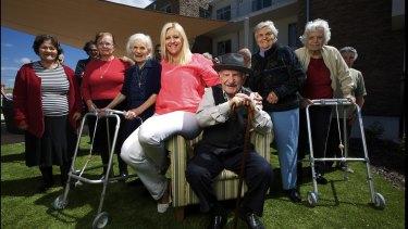 Vivi Michailidou with residents at the Fronditha nursing home in Thornbury.