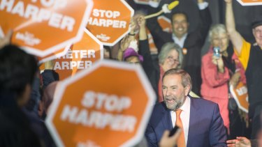 New Democratic Party leader Tom Mulcair at a rally in Vancouver, British Columbia,  on Saturday.