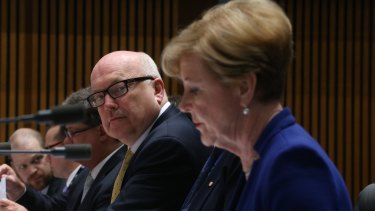 Attorney-General George Brandis and Australian Human Rights Commission president Gillian Triggs.