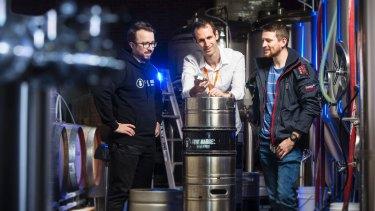 Brewer James O'Shea, entrepreneur Michael Burton and James Rule.